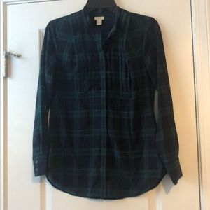 J.Crew Blue and Green Plaid PinTucked Top